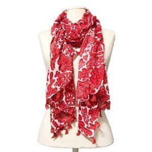 Isaac Mizrahi   Red   White Rayon Tassel Scarf